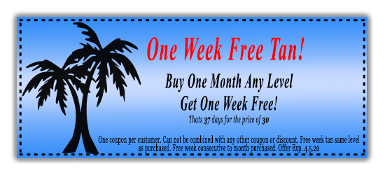 Tanning salon specials, coupon,free